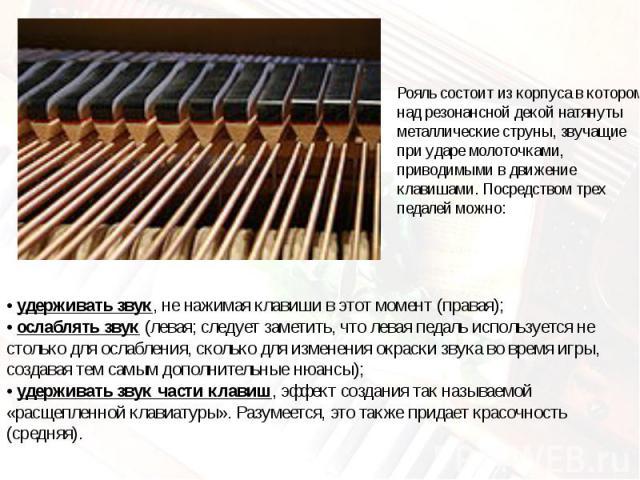 Рояль состоит из корпуса в котором над резонансной декой натянуты металлические струны, звучащие при ударе молоточками, приводимыми в движение клавишами. Посредством трех педалей можно:• удерживать звук, не нажимая клавиши в этот момент (правая);• о…