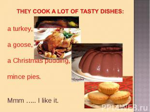they cook a lot of tasty dishes:a turkey, a goose, a Christmas pudding,mince pie