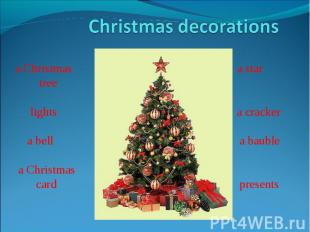 Christmas decorationsa Christmas a star tree lights a cracker a bell a bauble a