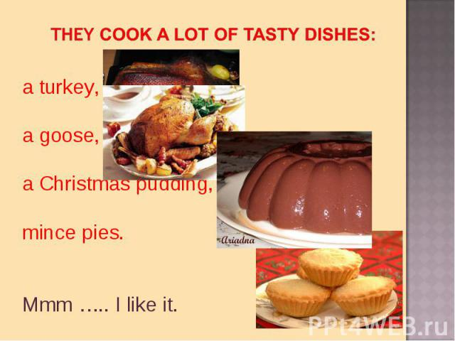 they cook a lot of tasty dishes:a turkey, a goose, a Christmas pudding,mince pies. Mmm ….. I like it.
