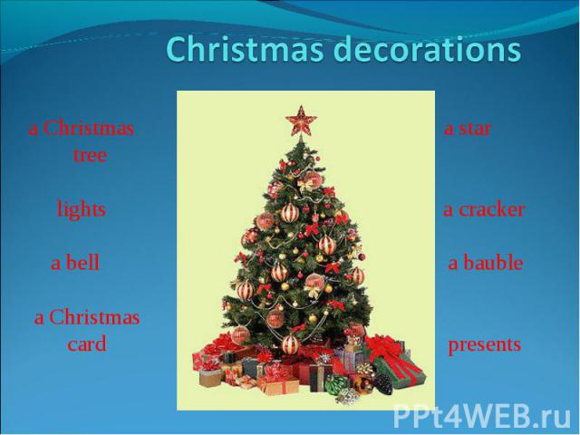 Christmas decorationsa Christmas a star tree lights a cracker a bell a bauble a Christmas card presents