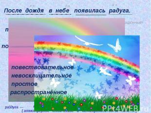 После дождя в небе появилась радуга. повествовательное невосклицательное простое