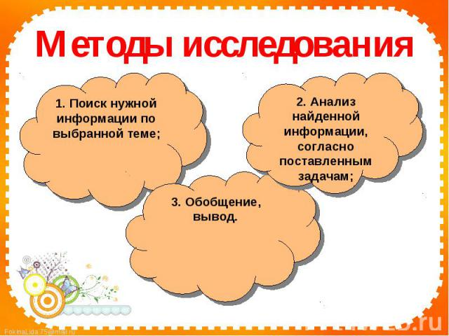 Методы исследования1. Поиск нужной информации по выбранной теме;2. Анализ найденной информации, согласно поставленным задачам;3. Обобщение, вывод.