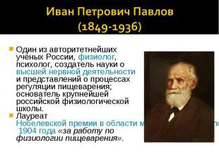 Иван Петрович Павлов(1849-1936)Один из авторитетнейших учёных России, физиолог,