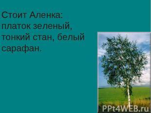 Стоит Аленка: платок зеленый, тонкий стан, белый сарафан.
