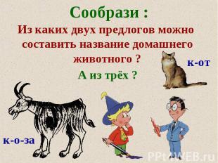Сообрази: Из каких двух предлогов можно составить название домашнего животного ?