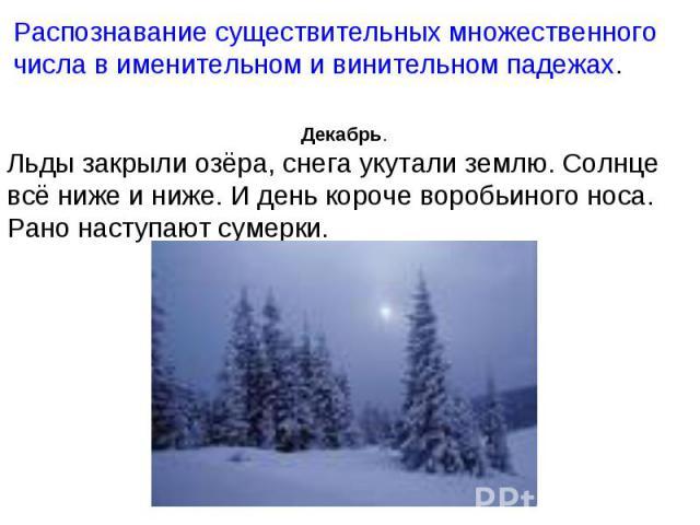 Распознавание существительных множественного числа в именительном и винительном падежах. Декабрь.Льды закрыли озёра, снега укутали землю. Солнце всё ниже и ниже. И день короче воробьиного носа. Рано наступают сумерки.