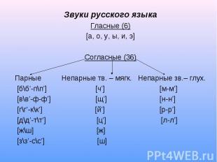 Звуки русского языкаГласные (6)[а, о, у, ы, и, э]Согласные (36)Парные Непарные т