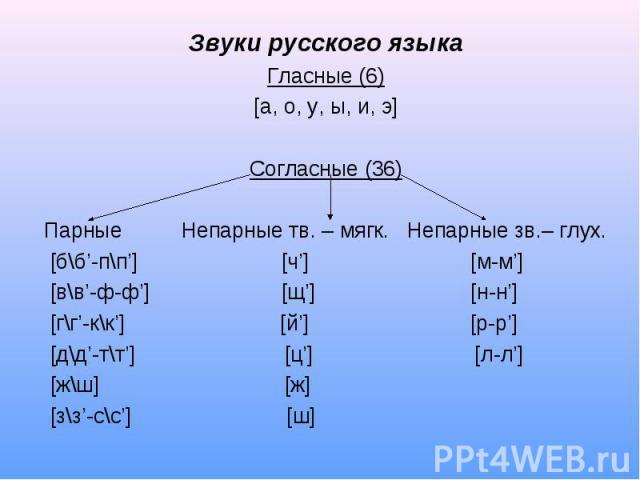 Звуки русского языкаГласные (6)[а, о, у, ы, и, э]Согласные (36)Парные Непарные тв. – мягк. Непарные зв.– глух. [б\б'-п\п'] [ч'] [м-м'] [в\в'-ф-ф'] [щ'] [н-н'] [г\г'-к\к'] [й'] [р-р'] [д\д'-т\т'] [ц'] [л-л'] [ж\ш] [ж] [з\з'-с\с'] [ш]