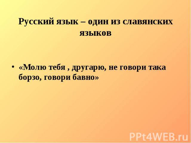 Русский язык – один из славянских языков«Молю тебя , другарю, не говори така борзо, говори бавно»