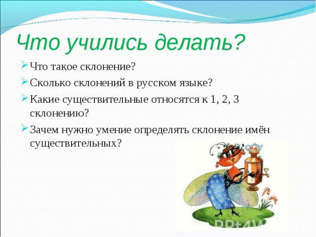 Что учились делать?Что такое склонение?Сколько склонений в русском языке?Какие существительные относятся к 1, 2, 3 склонению?Зачем нужно умение определять склонение имён существительных?