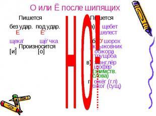 О или Ё после шипящих Пишется Пишетсябез удар. под удар. а)Е' щебет Е Ё' шелестщ