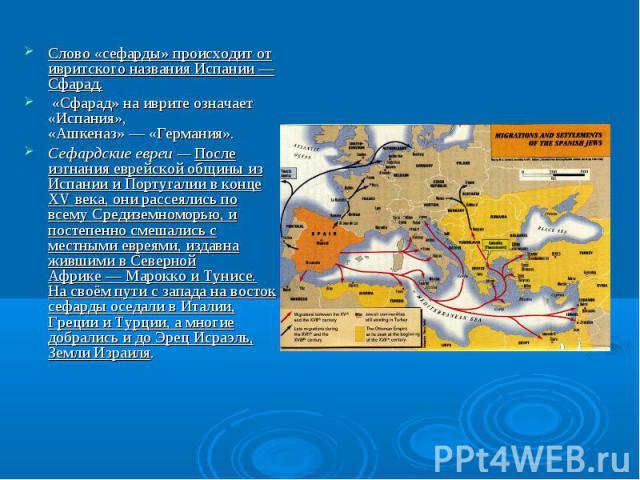 Слово «сефарды» происходит от ивритского названия Испании — Сфарад. «Сфарад» на иврите означает «Испания», «Ашкеназ»—«Германия». Сефардские евреи—После изгнания еврейской общины из Испании и Португалии в конце XVвека, они рассеялись по всему Ср…