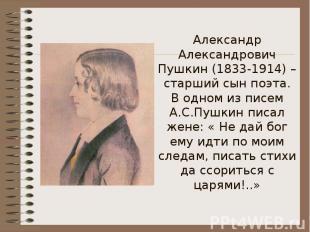 Александр Александрович Пушкин (1833-1914) – старший сын поэта.В одном из писем