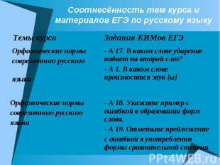 Соотнесённость тем курса и материалов ЕГЭ по русскому языку