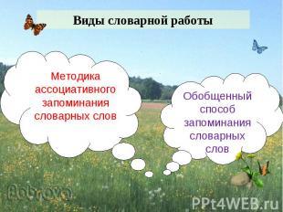 Виды словарной работыМетодика ассоциативного запоминания словарных словОбобщенны