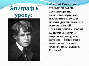 Эпиграф к уроку: «Сергей Есенин не столько человек, сколько орган, созданный при