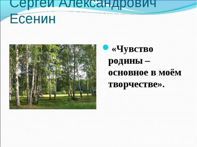 Сергей Александрович Есенин«Чувство родины – основное в моём творчестве».