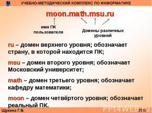 moon.math.msu.ruru – домен верхнего уровня; обозначает страну, в которой находит