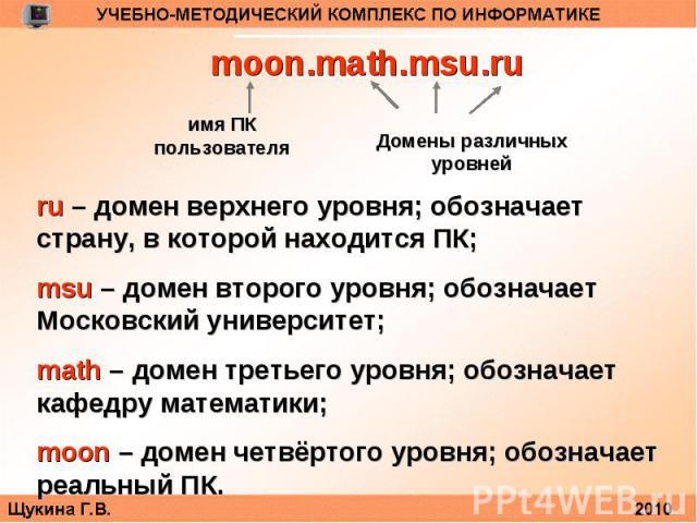 moon.math.msu.ruru – домен верхнего уровня; обозначает страну, в которой находится ПК;msu – домен второго уровня; обозначает Московский университет;math – домен третьего уровня; обозначает кафедру математики;moon – домен четвёртого уровня; обозначае…