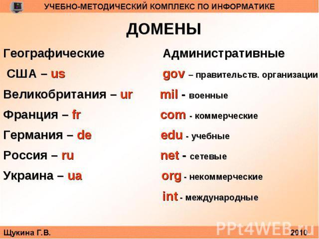 ДОМЕНЫГеографические Административные США – usgov – правительств. организацииВеликобритания – ur mil - военныеФранция – fr com - коммерческиеГермания – de edu - учебныеРоссия – ru net - сетевыеУкраина – ua org - некоммерческие int - международные