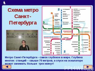 Схема метро Санкт-ПетербургаМетро Санкт-Петербурга - самое глубокое в мире. Глуб