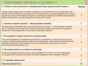 Критерии оценки задания С5