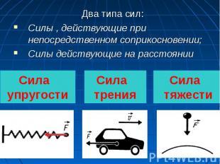 Два типа сил:Силы , действующие при непосредственном соприкосновении;Силы действ