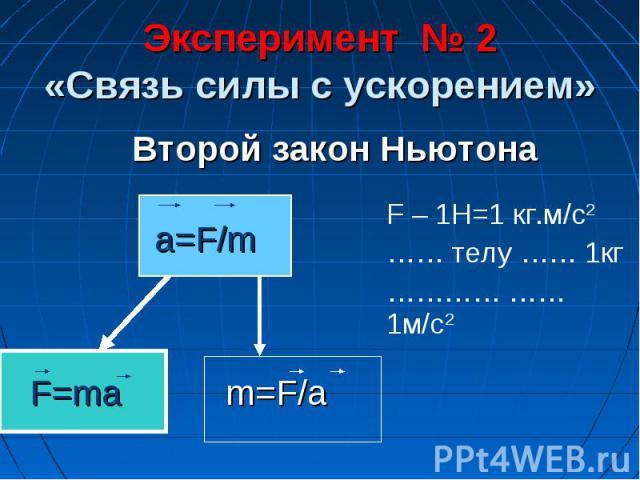 Эксперимент № 2«Связь силы с ускорением»Второй закон НьютонаF – 1H=1 кг.м/с2…… телу …… 1кг………… …… 1м/с2