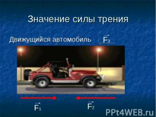 Значение силы тренияДвижущийся автомобиль
