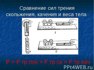 Сравнение сил трения скольжения, качения и веса тела P > F тр пок > F тр ск > F