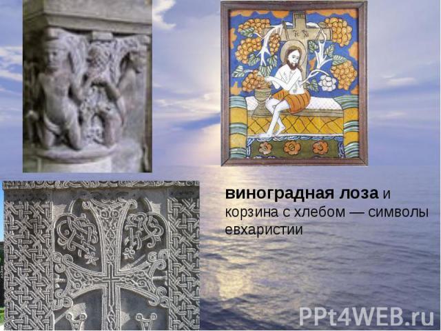 виноградная лоза и корзина с хлебом— символы евхаристии