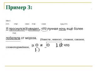 Пример 3:Мест.И.п. глаг. союз глаг. союз сущ.И.п.Я проснулся и увидел, что лунна