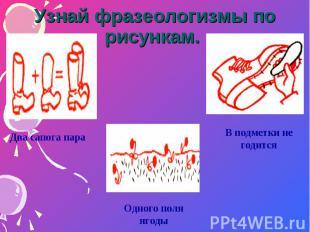 Узнай фразеологизмы по рисункам. Два сапога параОдного поля ягодыВ подметки не г