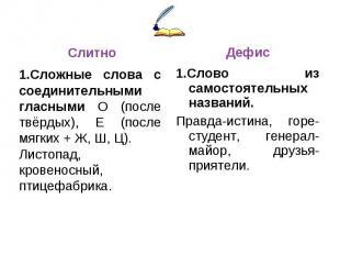 Слитно1.Сложные слова с соединительными гласными О (после твёрдых), Е (после мяг
