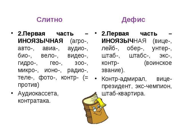 Слитно2.Первая часть – ИНОЯЗЫЧНАЯ (агро-, авто-, авиа-, аудио-, био-, вело-, видео-, гидро-, гео-, зоо-, микро-, ионо-, радио-, теле-, фото-, контр- (= против)Аудиокассета, контратака. Дефис2.Первая часть – ИНОЯЗЫЧНАЯ (вице-, лейб-, обер-, унтер-, ш…