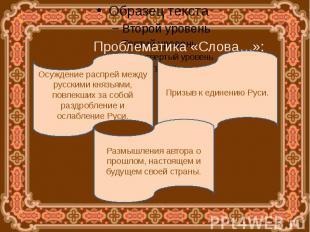 Проблематика «Слова…»:Осуждение распрей между русскими князьями, повлекших за со