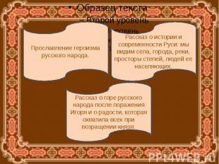 Прославление героизма русского народа.Рассказ о истории и современности Руси: мы