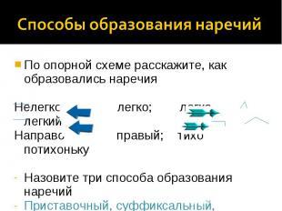 Способы образования наречийПо опорной схеме расскажите, как образовались наречия