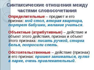 Синтаксические отношения между частями словосочетанияОпределительные – предмет и