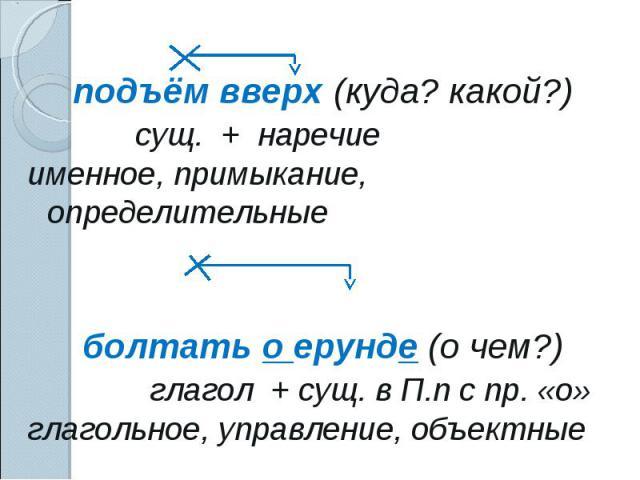подъём вверх (куда? какой?) сущ. + наречиеименное, примыкание, определительные болтать о ерунде (о чем?)глагол + сущ. в П.п с пр. «о»глагольное, управление, объектные
