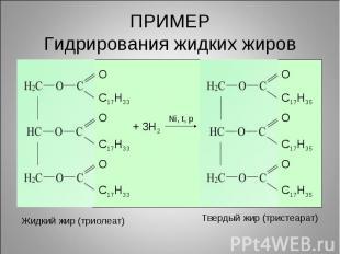 ПРИМЕРГидрирования жидких жировЖидкий жир (триолеат)Твердый жир (тристеарат)
