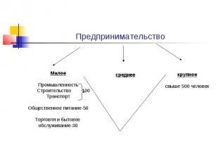 ПредпринимательствоМалоеПромышленность Строительство 100ТранспортОбщественное пи