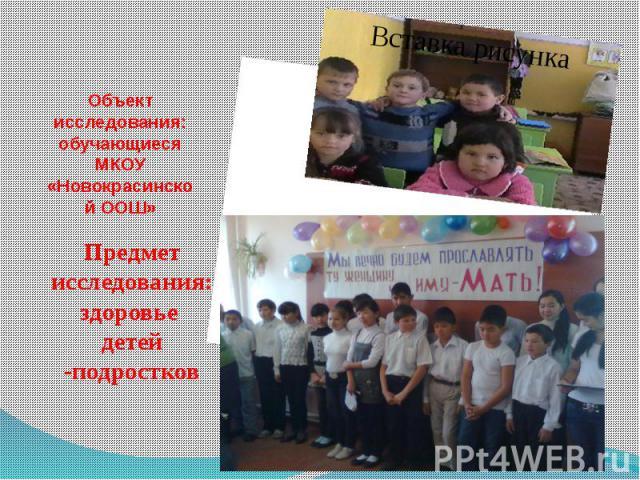Объект исследования: обучающиеся МКОУ «Новокрасинской ООШ»Предмет исследования: здоровье детей -подростков