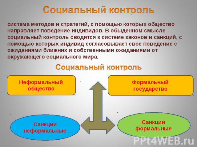 Социальный контрольсистема методов и стратегий, с помощью которых общество направляет поведение индивидов. В обыденном смысле социальный контроль сводится к системе законов и санкций, с помощью которых индивид согласовывает свое поведение с ожидания…
