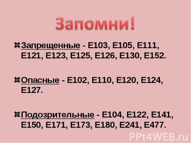 Запомни!Запрещенные - Е103, Е105, Е111, Е121, Е123, Е125, Е126, Е130, Е152.Опасные - Е102, Е110, Е120, Е124, Е127.Подозрительные - Е104, Е122, Е141, Е150, Е171, Е173, Е180, Е241, Е477.