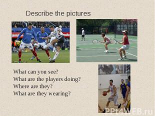Describe the picturesWhat can you see?What are the players doing?Where are they?