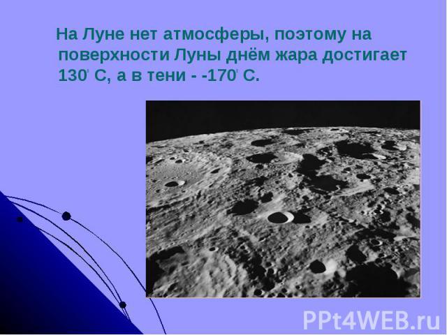 На Луне нет атмосферы, поэтому на поверхности Луны днём жара достигает 1300 С, а в тени - -1700 С.