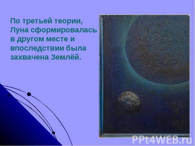 По третьей теории,Луна сформировалась в другом месте и впоследствии была захвачена Землёй.