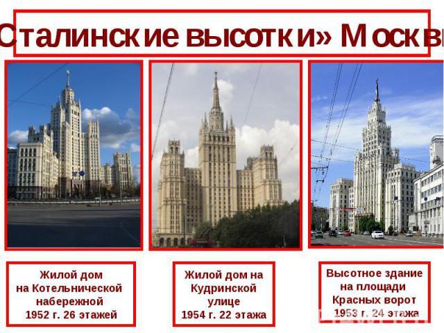 «Сталинские высотки» МосквыЖилой домна Котельнической набережной 1952 г. 26 этажейЖилой дом наКудринскойулице1954 г. 22 этажаВысотное зданиена площади Красных ворот 1953 г. 24 этажа